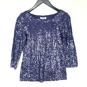 NWT Calvin Klein Plum Sequined 3/4 Sleeve Blouse
